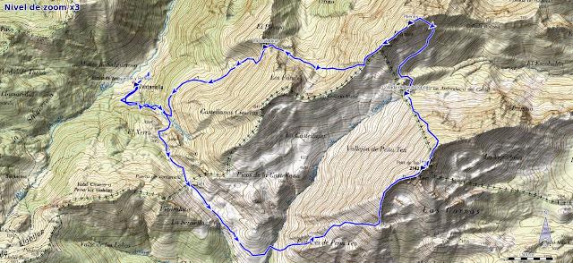 Mapa ruta Ten y Pileñes desde Ventaniella
