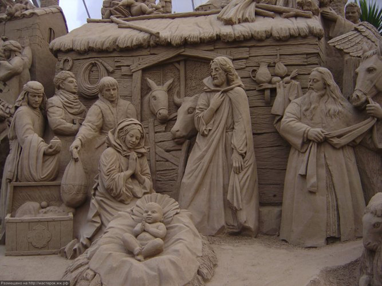 Nativity (the birth of the baby Jesus Christ) Sand Sculpture