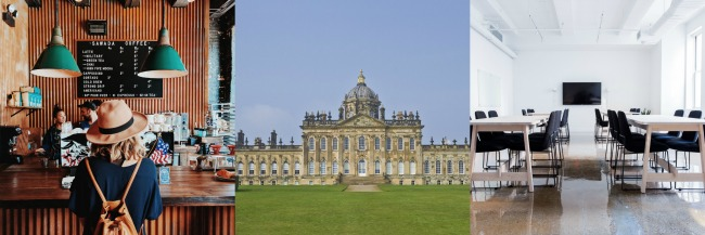 5-Tips-For-Organising-Blogger-Meet-Up-collage-of-image-of-coffee-shop-castle-howard-a-conference-room