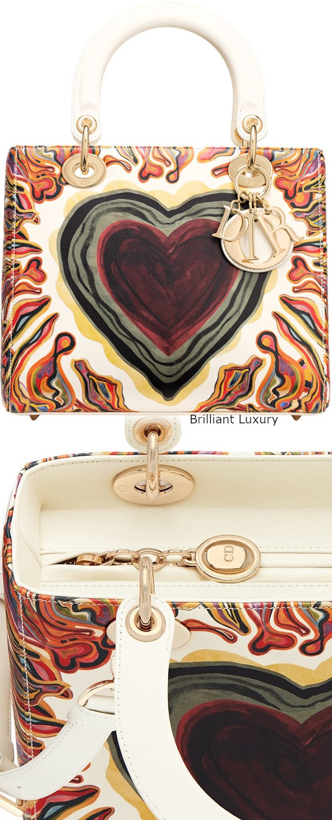 Brilliant Luxury♦Lady Dior bag, off-white calfskin printed with a textured Dioramour heart, light gold-tone metal jewellery