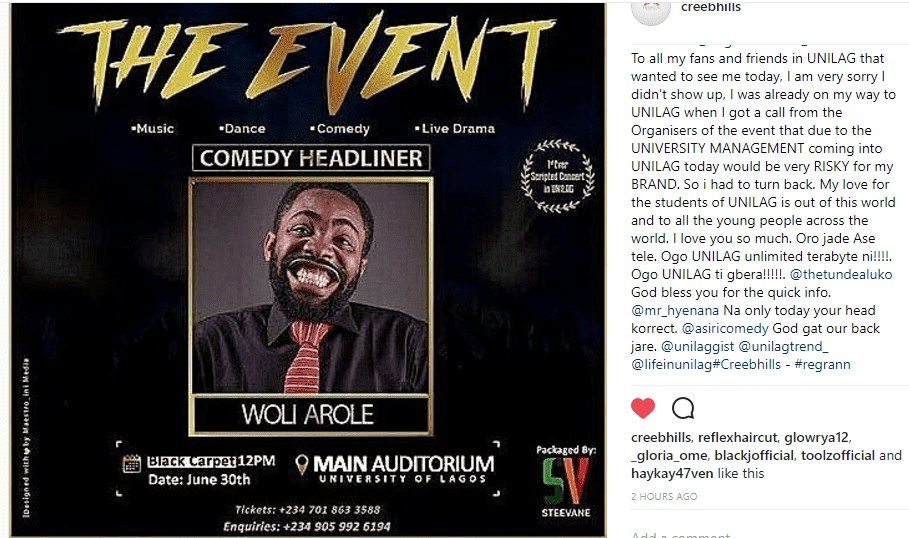 Woli Arole Apologizes to Unilag Student for cancelling on his Appearance at  #THEEVENTINUNILAG
