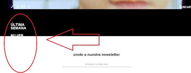 menu izquierdo de la web de zara que desaparece al hacer scroll