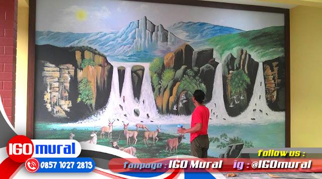 Lukisan Mural Hitam Putih, Lukis Dinding Cafe, Lukisan Dinding Pemandangan