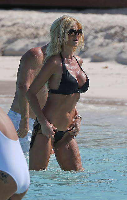 Victoria Silvstedt in a Bikini at Beach in St. Barts