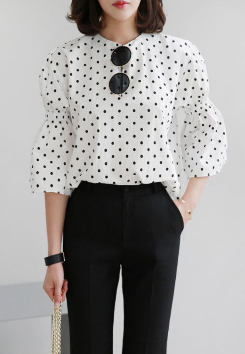 Polka Dot 3/4 Sleeve Blouse