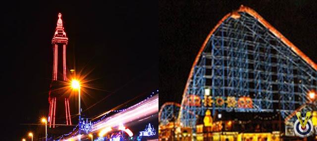 Blackpool Illuminations - Blackpool tower and Pleasure Beach at night