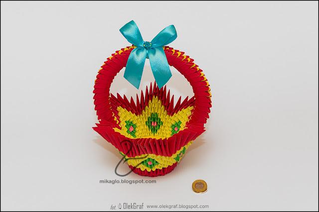 377. Czerwony koszyk / 3d origami red basket