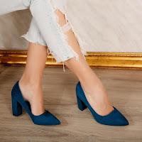 Pantofi de zi eleganti cu toc gros navy din piele eco intoarsa