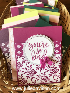 Stampin' Up! 2017-2019 In Color Notes of Kindness Cards ~ Berry Burst ~ www.juliedavison.com