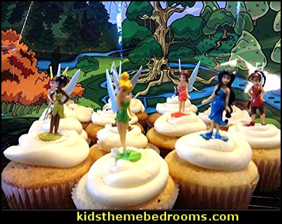 Disney Fairies Tinkerbell Deluxe Mini Figure Set - Cupcakes - Cake Toppers