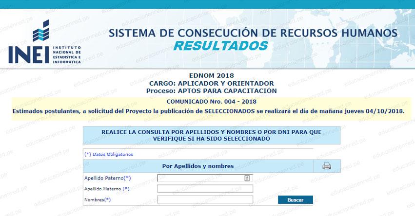 RESULTADOS INEI: Lista de Seleccionados Aplicador y Orientador (4 Octubre) www.inei.gob.pe