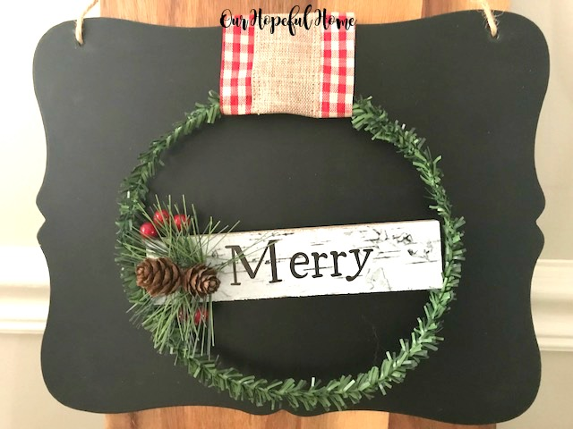 Dollar Tree mini chalkboard DIY wreath Merry ornament