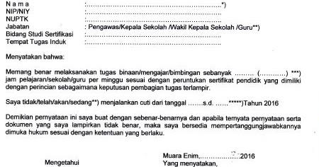 contoh surat pernyataan melaksanakan tugas mengajar guru