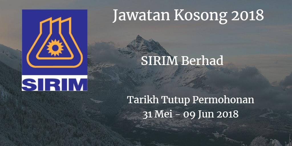 Jawatan Kosong SIRIM Berhad 31 Mei - 09 Mei 2018