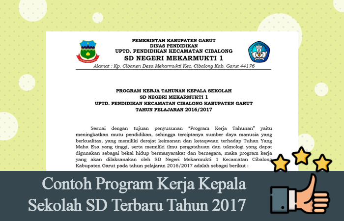 Contoh Program Kerja Kepala Sekolah SD Terbaru Tahun 2017