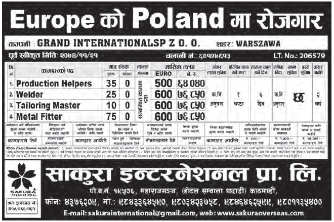 Jobs in Poland for Nepali, Salary Rs 76,850
