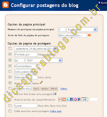 configurar posts do blogger