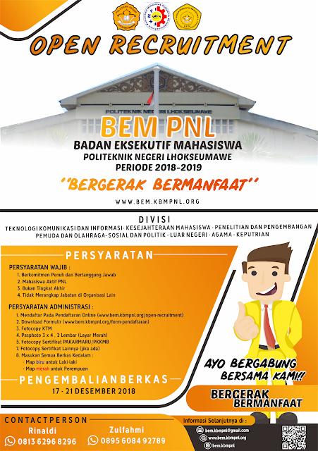 PENDAFTARAN EKSEKUTIF JUNIOR BEM PNL 2018