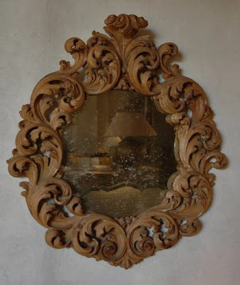 Baroque Italian Walnut MIrror 100 cm x 93 cm L's pick available via Garnier (be) as seen on linenandlavender.net
