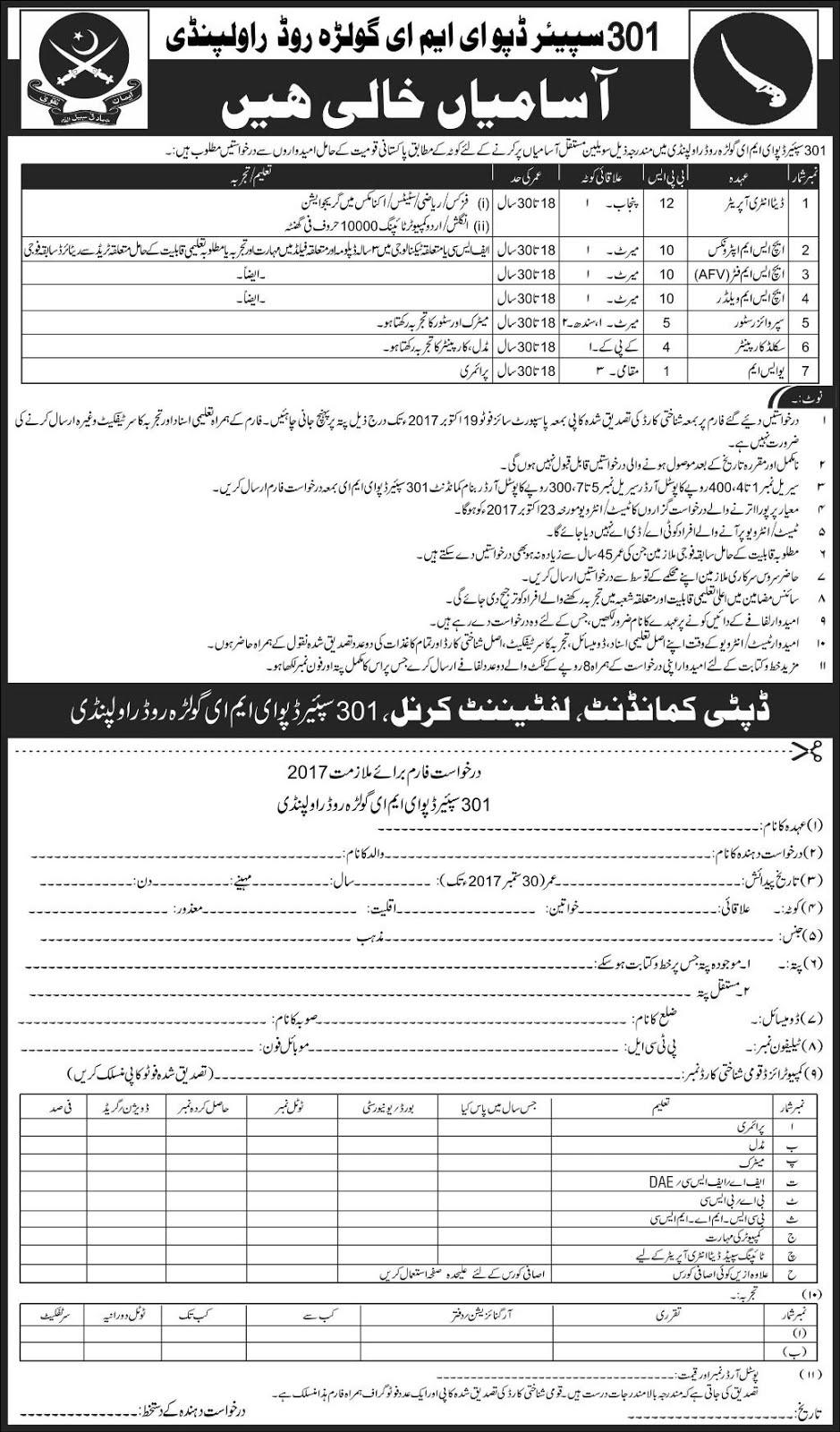 Job Vacancies In 301 Spare Depot Eme Golra Road Rawalpindi