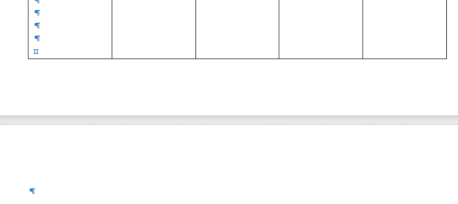 Come Eliminare Pagina Word - paragrafo fine tabella
