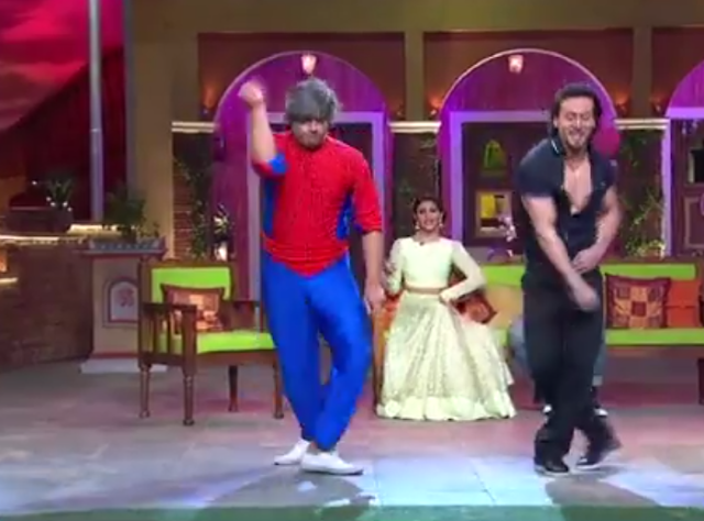 A glimpse of the dance-off between Pider Man and Tiger Shroff on Comedy Nights LIVE.