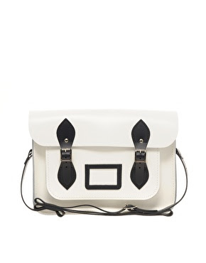 "ASOS Exclusive 13"" Contrast Trim Cambridge Satchel, GBP110  Black and white"