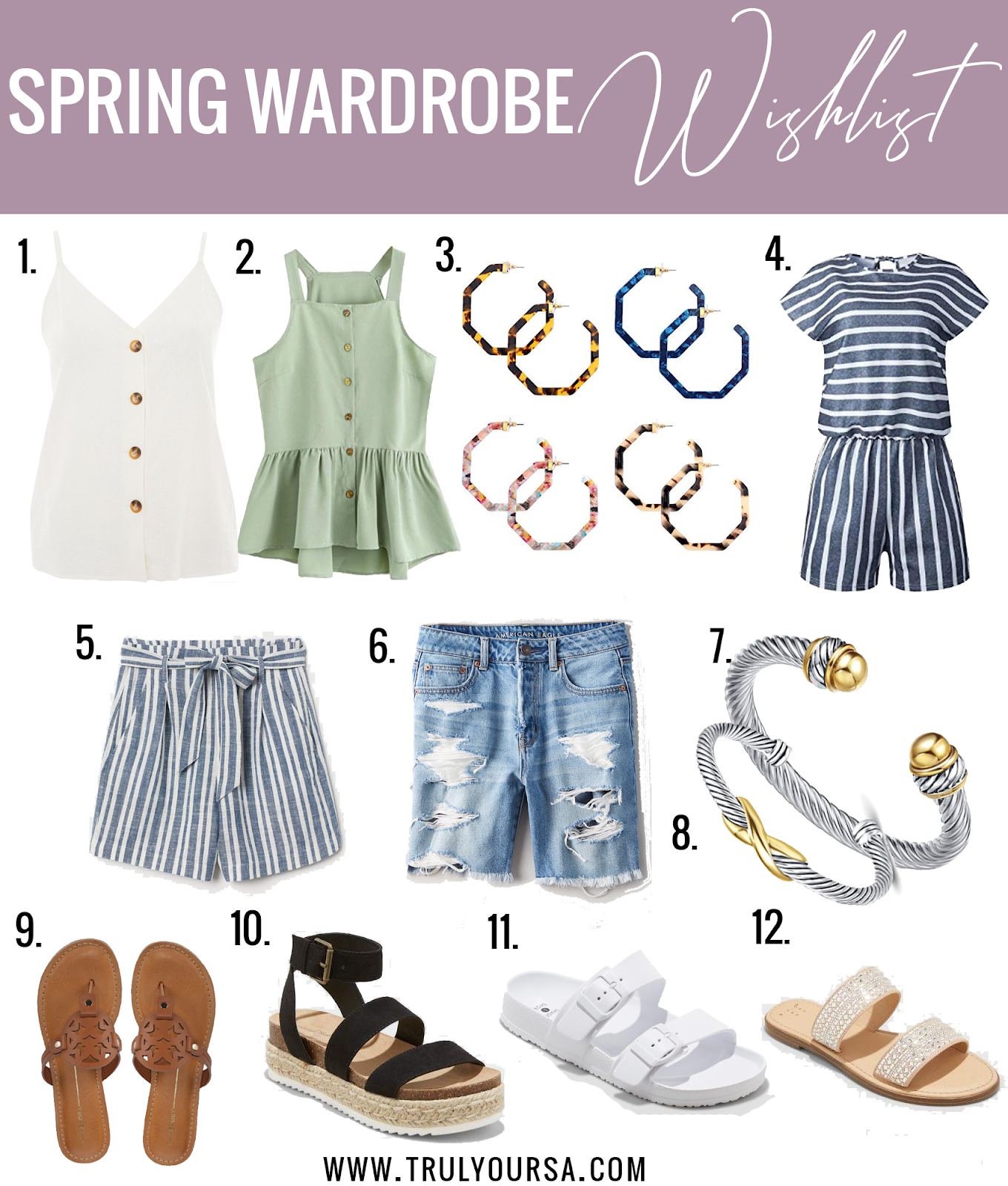 It's the second day of beautiful weather here and it has me itching to get outside! It also has me wanting to add a ton of new clothes to my closet because my spring wardrobe is pretty non-existent. Today I'm sharing my spring wardrobe wishlist where every item is under $50!! #springfashion #springwardrobewishlist #springwardrobe #springshopping