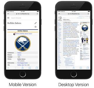 siti desktop su iPhone e android