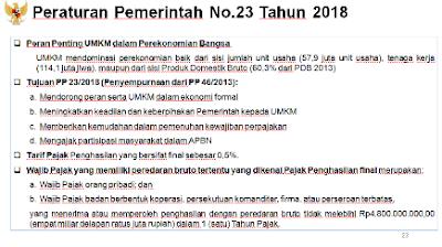peraturan pemerintah no 23 tahun 2018 tarif pph umkm nurul sufitri