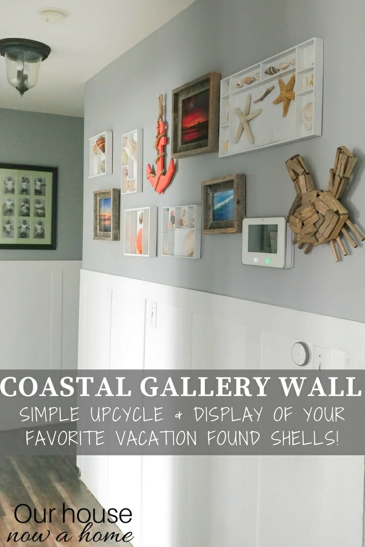 Coastal themed gallery wall with boxes for shells