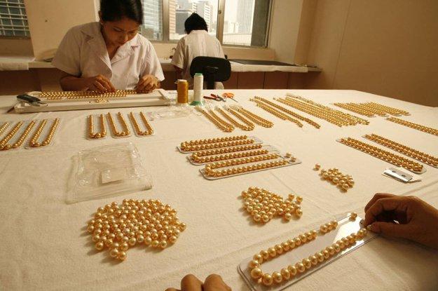 Lựa chọn từng viên ngọc trai cho chuỗi ngọc Golden South Sea Pearl strand lóng lánh ánh vàng tuyệt đẹp.