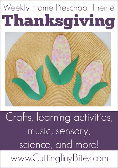 Thanksgiving Theme- Weekly Home Preschool. Crafts, learning activities, fine motor, gross motor, sensory activities, music, science, and more! Easy activities for one week of home pre-k.