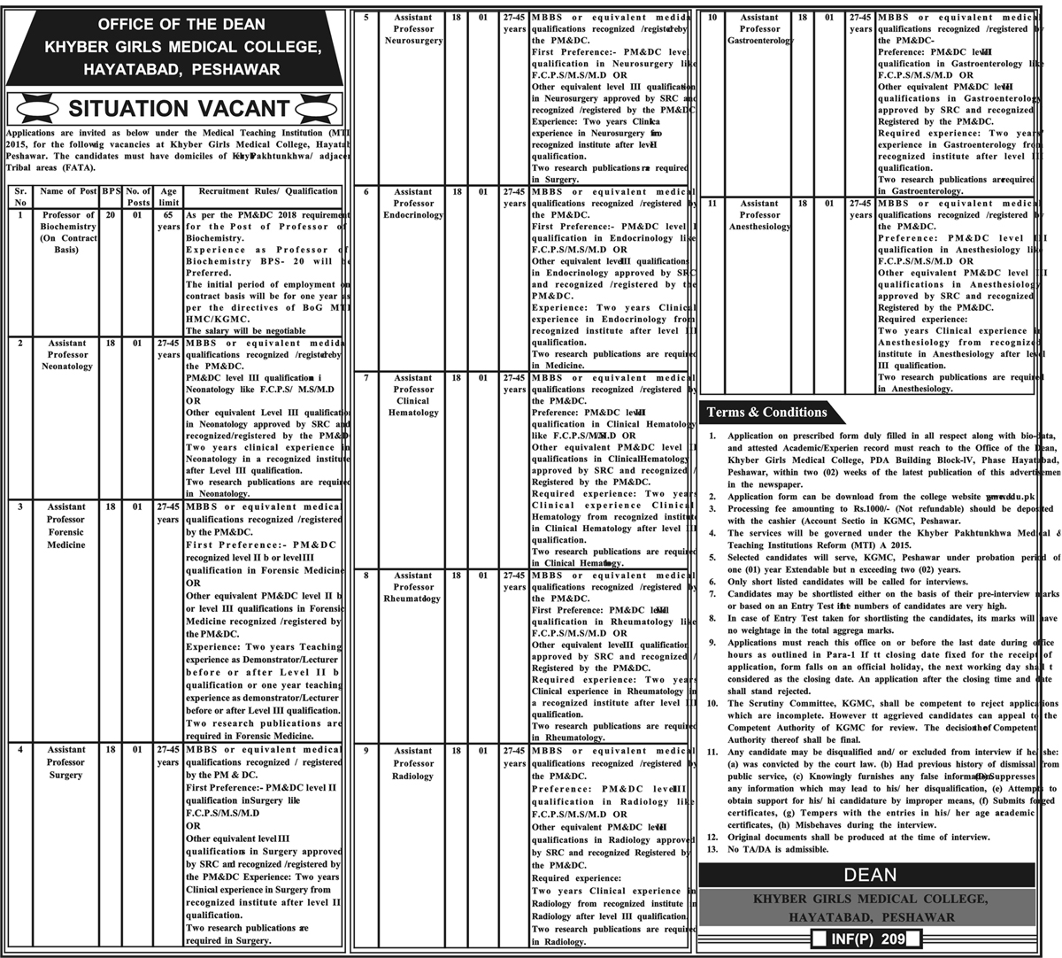 Jobs Vacancies In Khyber Girls Medical College 16 January 2019