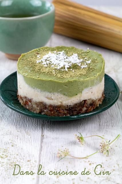 cheese cake végétal au matcha