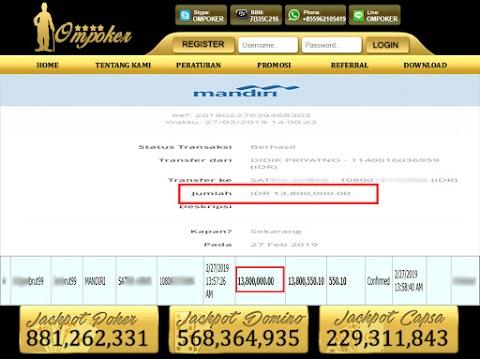 Selamat Kepada Member Setia Ompoker WD Rp 13.800.000