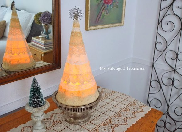 tomato cage and vintage lace Christmas tree