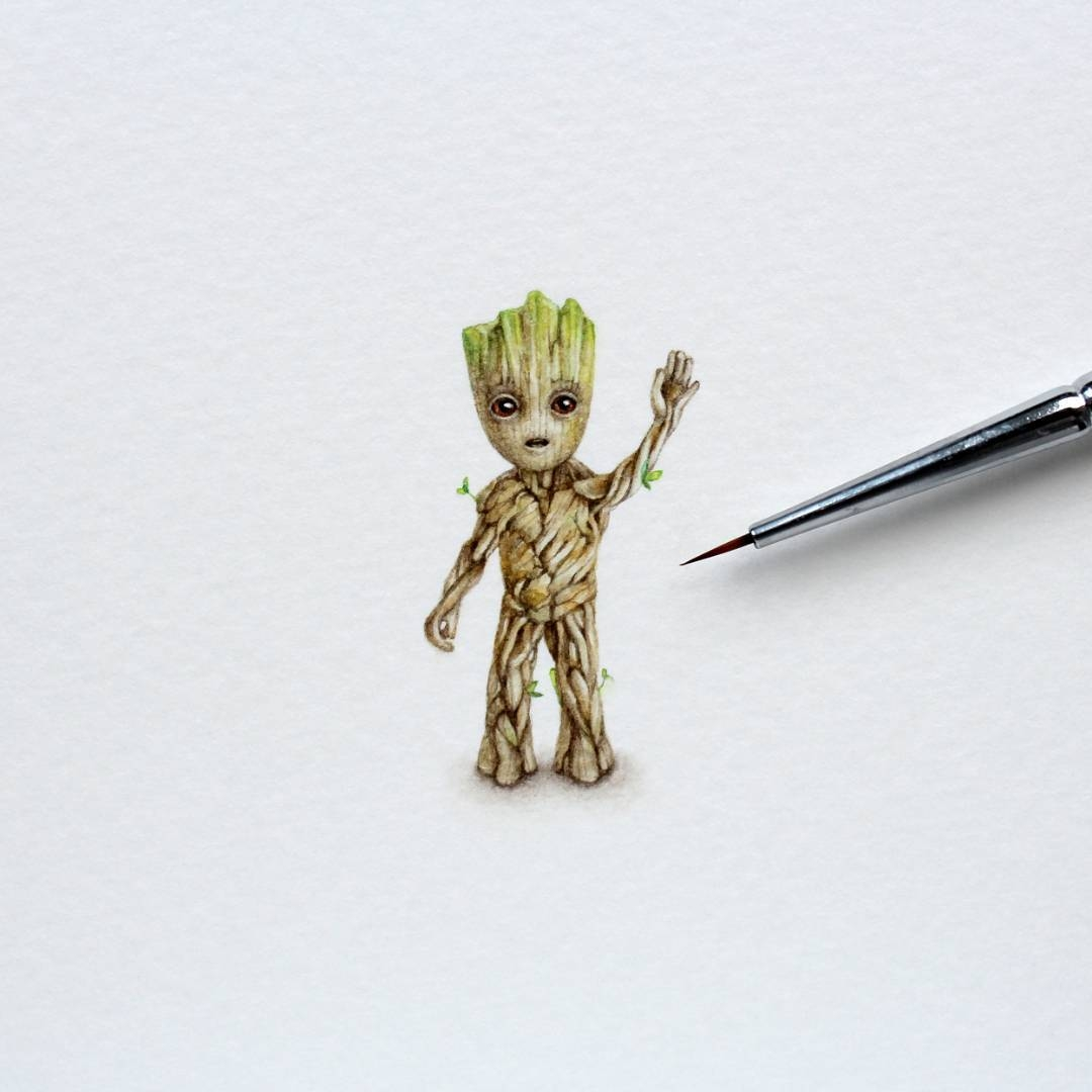 02-Baby-Groot-Julia-Las-Tiny-Animal-Watercolor-Paintings-and-Other-Miniatures-www-designstack-co
