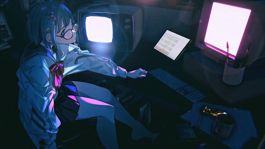 Anime, Girl, Student, School, Uniform, Anime, 4K, #6.1014