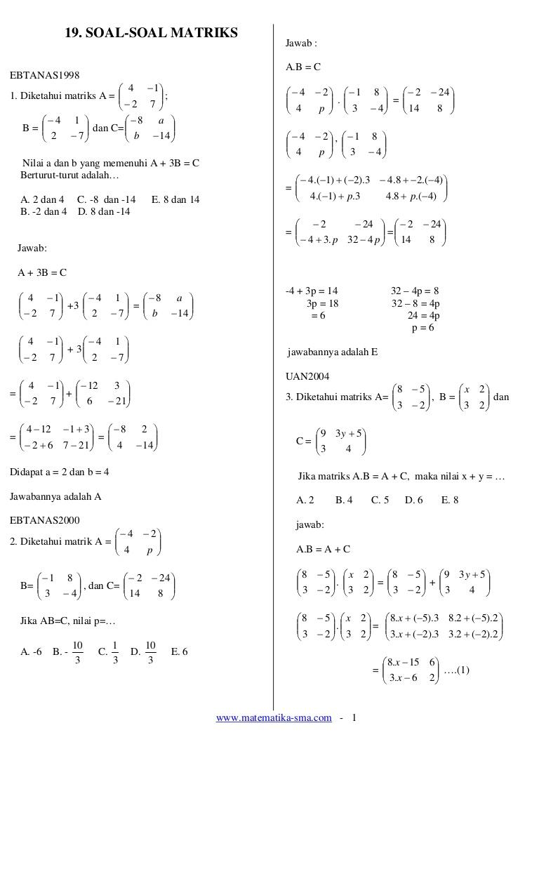 16+ Contoh Soal Matriks Metode Kofaktor - Kumpulan Contoh Soal