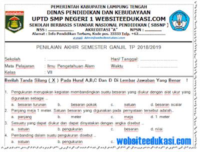Soal PAS/ UAS IPA Kelas 7 K13 Tahun 2018/2019