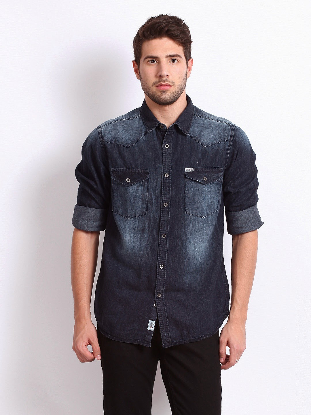 c3597b1e814 Myntra Roadster Men Blue Hamilton Shelby Slim Fit Denim Casual Shirt Flat 30%  OFF
