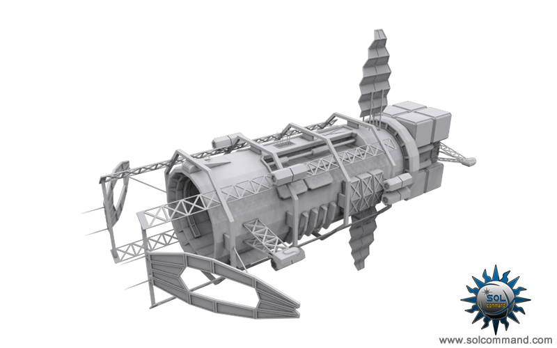 Blackstar mining ship wip spaceship space miner syndicate asteroid autmated drone specialized industrial scifi futuristic mobile base command control drills debris original concept art free download 3d model solcommand