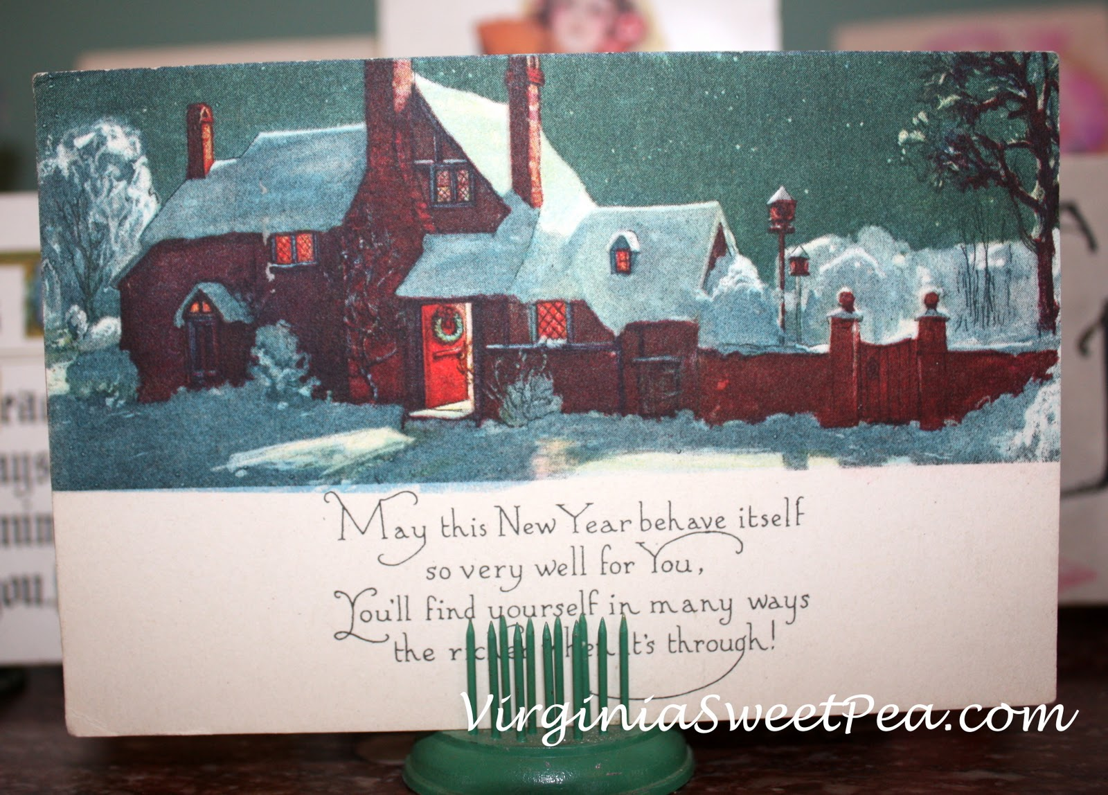 vintage new year post cards sweet pea