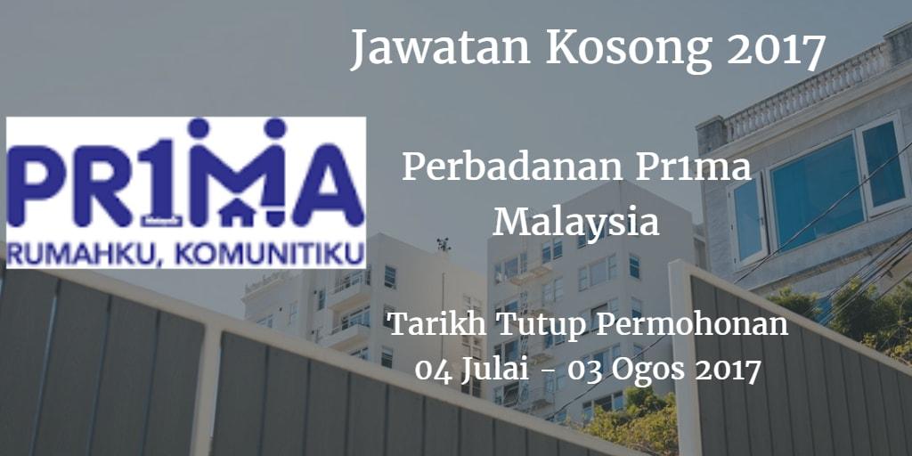 Jawatan Kosong Perbadanan Pr1ma Malaysia 17 Julai 2017