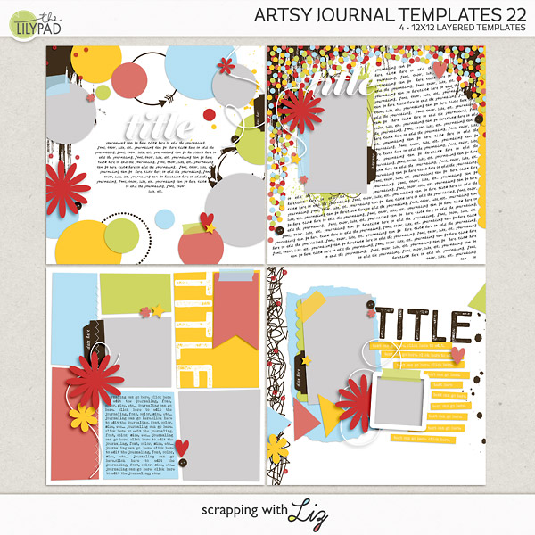 Digital Scrapbook Artsy Journal Templates 22