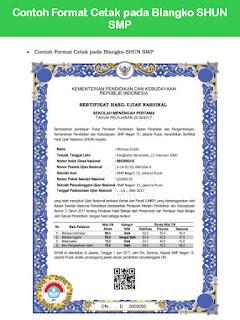Contoh Format Cetak pada Blangko SHUN SMP