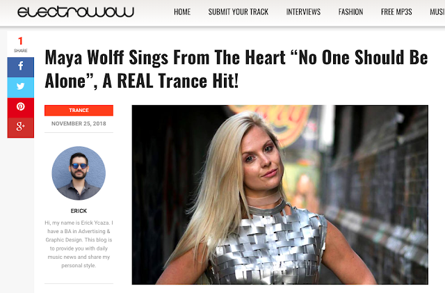Amazing being featured in @ElectroWowBlog ! Check it out! https://www.electrowow.net/2018/11/maya-wolff-sings-from-the-heart-no-one-should-be-alone.html