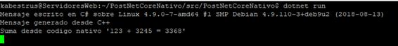 Resultado de ejecutar la aplicación en Linux