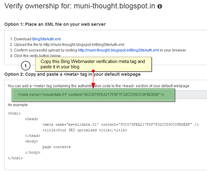 Verify Ownership of Blogger Sitemap in Bing Webmaster Tool